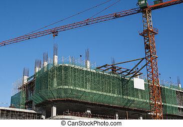 に対して, サイト, 貯蔵, 建設, 青, multi, タワー, 建物, 使用, sky., 建物。, 未完成, construction., 金属, クレーン
