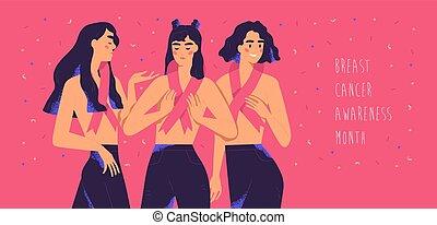 に対して, シンボル, 月, 平ら, disease., ピンク, 動き, 一緒に。, がん, インターナショナル, 概念, style., 社会, 女性, oncology, ベクトル, 地位, イラスト, banner., リボン, 女の子, 認識