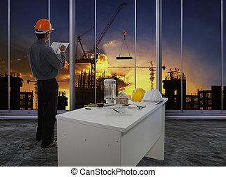 に対して, ビジネス, 建物, dusky, 建設, マレ, 空, サイト, エンジニア, 市民, 流れ, 点検, 仕事, 使用, 工学, 美しい