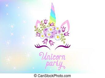 """に対して, 星, 花輪, 光っていること, かわいい, 背景, 宇宙, 一角獣, テキスト, 虹色, 花, """"..."""
