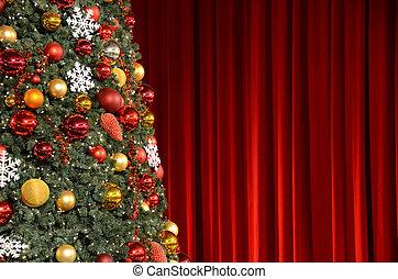 に対して, 木, クリスマス, ひだのある布, 赤
