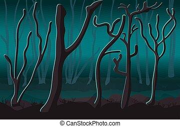 に対して, 木, シルエット, glow., 霧が濃い, 幽霊, forest.