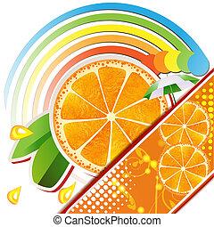 に薄く切る, オレンジ, ∥で∥, 葉