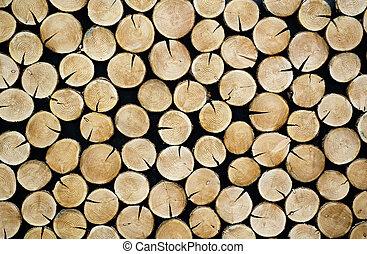 に薄く切る, 積み重ねられた, 木