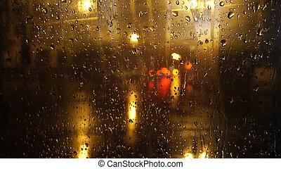 ぬれた, ガラス, 通り, によって, 夜, 光景
