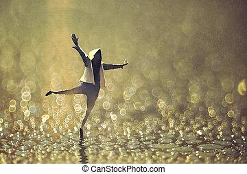 ぬれた, ダンス, 幸せ, 通り, 背景, 人, bokeh