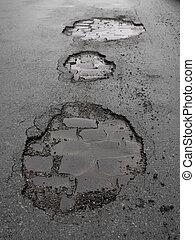 ぬれた, 通り, つぼ穴, 都市