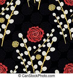 ねこちゃん, 年, バックグラウンド。, 花, 背景。, 中国語, パターン, celebration., 花束, から, ペーパー, ヤナギ, 美しい, 切口は 分岐する, 花の印刷, seamless, 金, 赤, 上に, 幸運, 黒, 新しい, シャクヤク, すべて, ベクトル