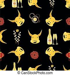 ねこちゃん, 年, バックグラウンド。, 雄牛, 泡, 中国語, パターン, 背景, かわいい, シャンペン, から, びん, ペーパー, peonies., カレンダー, ヤナギ, シンボル, 切口, seamless, ガラス, 金, 牛, 2021., kawaii, 新しい, ベクトル