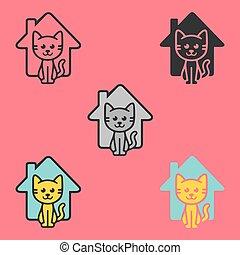 ねこ, わずかしか, 家, logo., 子ネコ, 幸せ, ロゴ, 招待, 家, ui, ux., 涼しい, 動物, 避難所, care.