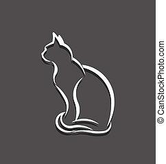 ねこ, イメージ, ロゴ, 線, 3d, 白