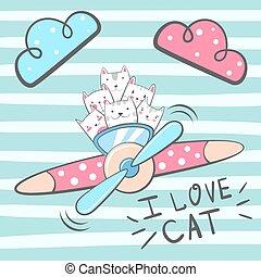 ねこ, キティ, 漫画, characters.
