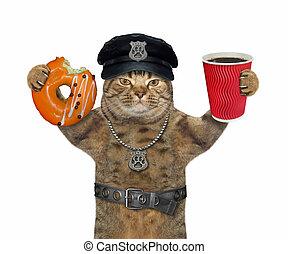 ねこ, ドーナツ, 警官, コーヒー
