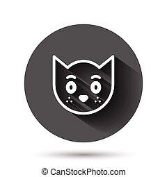 ねこ, 動物, イラスト, ペット, アイコン, 黒, 影, concept., 長い間, ビジネス, 頭, 平ら, ベクトル, かわいい, style., effect., 円, ラウンド, 背景, ボタン
