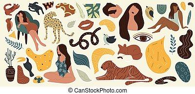 ねこ, 女性, 引かれる, ヘビ, 植物, セット, キツネ, 手