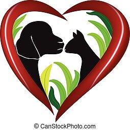 ねこ, 心, 愛, ロゴ, ベクトル, 犬