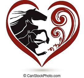 ねこ, 心, 馬, 花, ロゴ, 犬