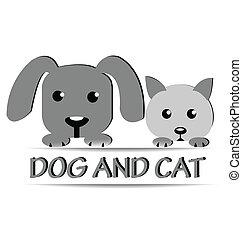 ねこ, 犬, ロゴ, デザイン