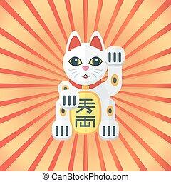 ねこ, 運, 日本, カラードの背景, 放射, ベクトル, デザイン, 平ら, maneki