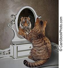 ねこ, 顔つき, 中に, 鏡