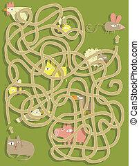 ねこ, game., 隠された, 迷路, マウス, 解決, layer!