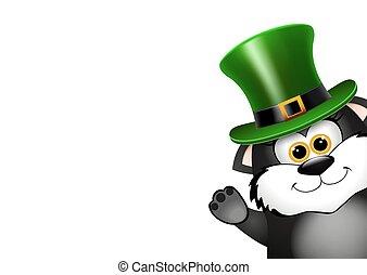 ねこ, patricks, 黒, 聖者, hat., leprechaun, 日, カード, design.