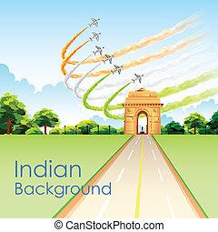 のまわり, インド, 三色旗, 旗, indian, 作成, 門, 飛行機