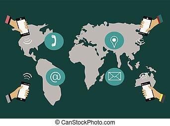 のまわり, コミュニケートしなさい, 電話, 手を持つ, world.