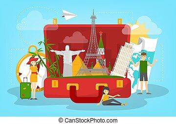 のまわり, world., 旅行, 休暇, 考え, 観光事業, concept.