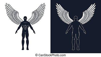 のように, ∥あるいは∥, 天使, superhero, 翼, 筋肉, 人, 暗い