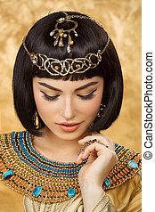 のように, エジプト人, cleopatra, 背景, 金, 美しい女性
