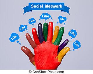 のように, カラフルである, 灰色, 印, smileys, 指, 背景, 社会, 泡, 幸せ, ネットワーク