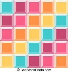 のように, キルトパターン, 抽象的, 幾何学的, カラフルである