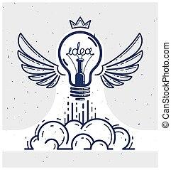 のように, 新しい, start., 始動, ライト, ベクトル, 翼, 考え, 線である, ビジネス, ロゴ, lightbulb, 発明, 科学, 創造的, ∥あるいは∥, 発射, 研究, ロケット, アイコン, 電球