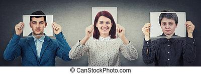 のように, 表現, 木, 幸せ, society., ∥(彼・それ)ら∥, 実質, 写真, シート, 概念, 感情, マスク, 悲しい, 人々, 楽天主義者, ニュートラル, 使うこと, realist, hide, カバー, 厭世家, 顔