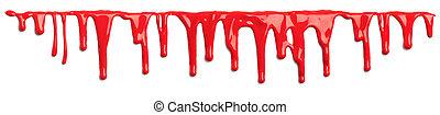 のように, 隔離された, したたり落ちているペイント, 血, 白い赤