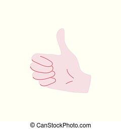 のように, 隔離された, 提示, -, の上, 手, バックグラウンド。, 親指, 人間, 白, 印, ジェスチャー