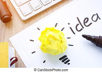 のように, concept., 考え, 黄色, ペーパー, 電球, inspiration.
