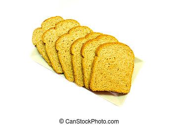 の上, に薄く切る, 全粒小麦粉である, 背景, 白, 見られた, bread