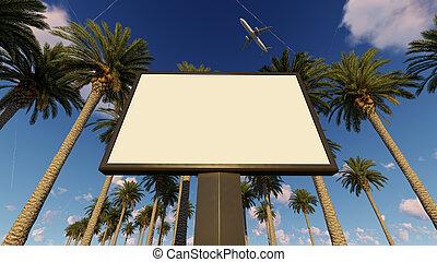 の上, やし, トロピカル, バージョン, 広告板, mock