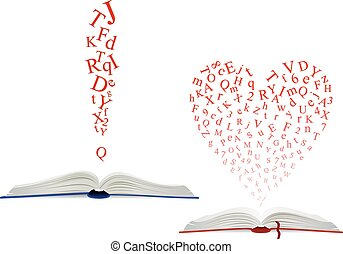 の上, アルファベット, 本, 手紙, 開いた, 雲