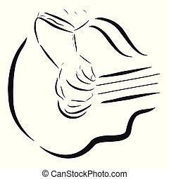 の上, スケッチ, 単純である, ギター, ∥あるいは∥, 終わり, 人, 遊び, accoustic, 女
