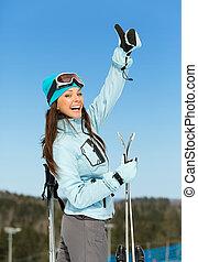 の上, ヒッチハイクすること, 女性, 肖像画, 半分長さ, スキーヤー
