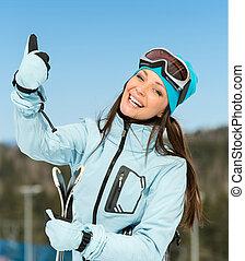 の上, ヒッチハイクすること, 女性, 肖像画, 半分長さ, 下り坂の スキーヤー