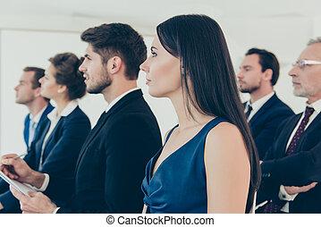 の上, ビジネス 人々, 若い, グループ, 終わり, セミナー