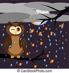 の上, フクロウ, 目, 風景, ブランチ, ブラウン, 木, 飛行, 空, 雲, 雨, 秋, 間, 彼の, に対して, ねじで締められる, カバーされた, モデル, 葉, あった, 背景