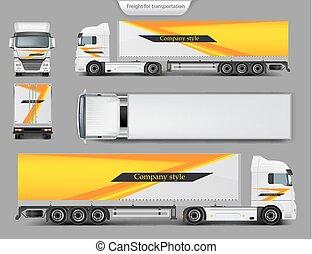 の上, ブランド, トラック, テンプレート, デザイン, mock