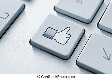 の上, ボタン, のように, 親指