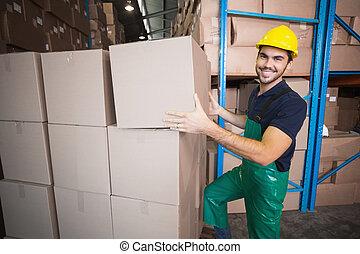 の上, ローディング, 労働者, 倉庫