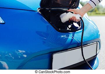 の上, 充電器, 電気である, 終わり, 自動車